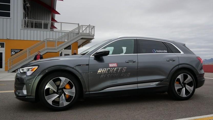 Vorführfahrzeug von Audi auf der CES: Die Bewegungsdaten des Fahrzeugs werden ins Spielgeschehen übernommen.