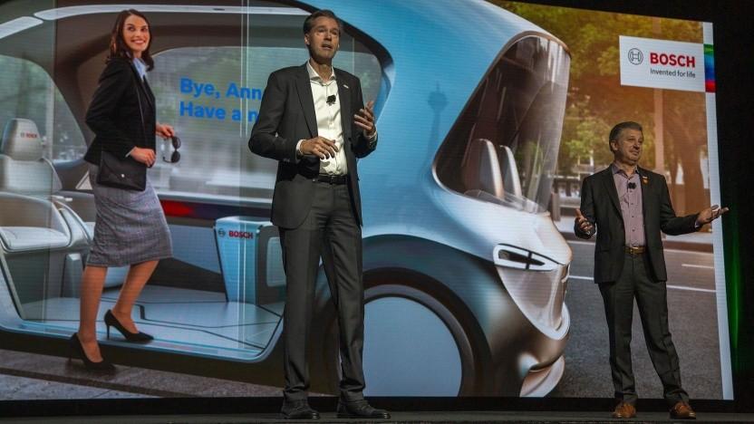 Präsentation des People Mover von Bosch auf der CES 2019: Niemand fährt nach Detroit.