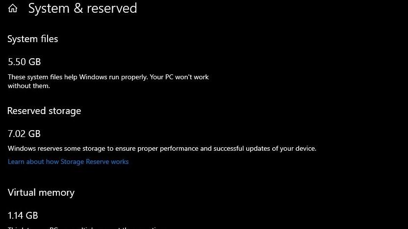 Windows zeigt reservierten Speicherplatz an.