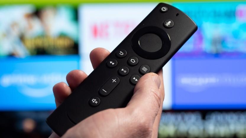 Die neue Fire-TV-Fernbedienung für Fire-TV-Geräte.