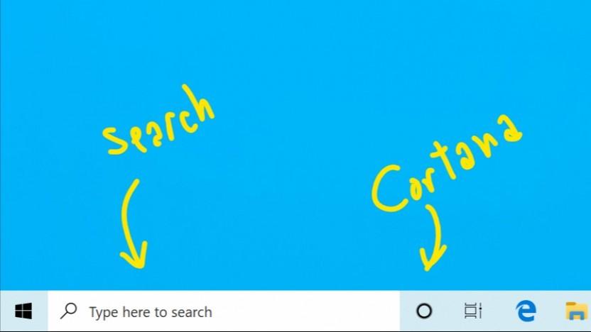 Windows 10 trennt Suchfeld von Cortana.