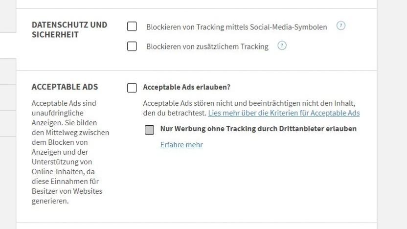Nutzer können das Whitelisting bei Adblock Plus deaktvieren.