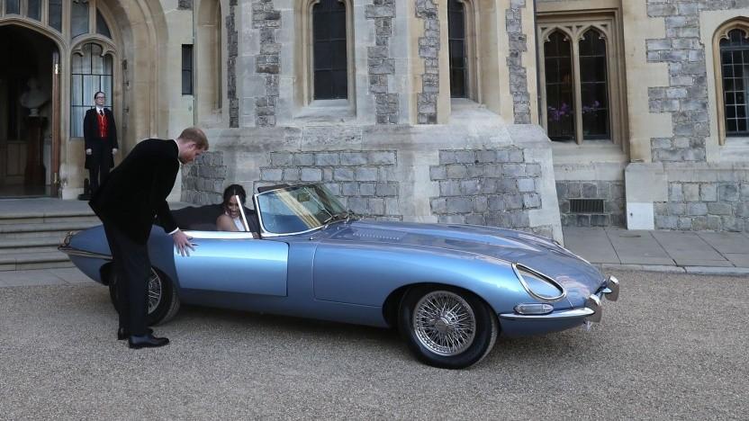 Jaguar E-Type Zero bei der königlichen Hochzeit in England  2018: bessere Beschleunigung als das Original