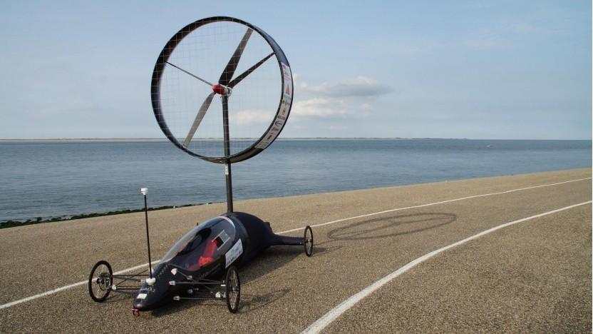 Windauto des Stuttgarter Teams Inventus beim Aelous Race: schneller als der Wind