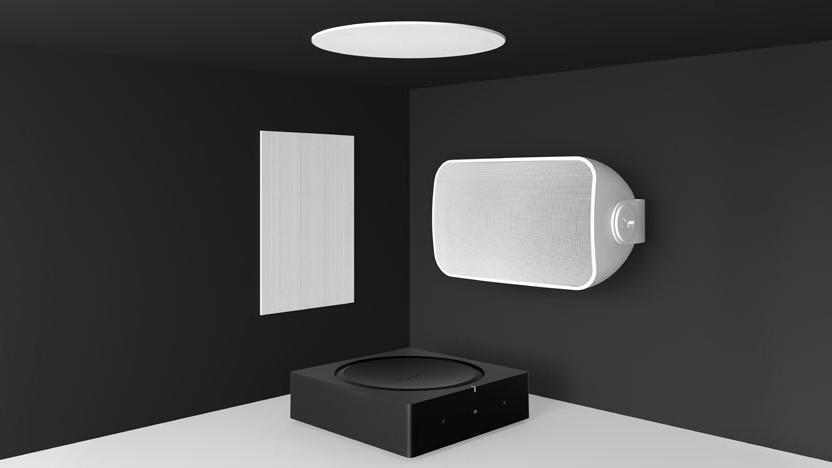 Die beiden neuen Einbau-Lautsprecher, der Outdoor Speaker und der Sonos Amp