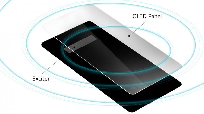 Dank eines Exciters unter dem Display kann das Panel als Lautsprechermembran verwendet werden.