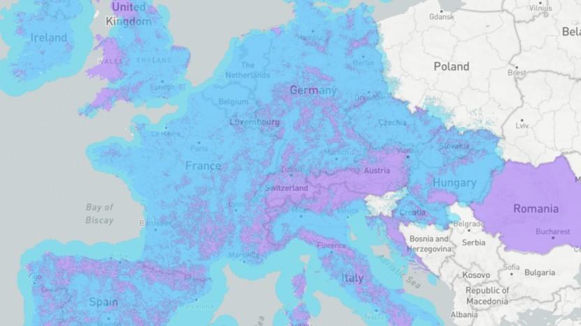 In vielen EU-Regionen befindet sich Sigfox noch im Bau (violette Farbe).