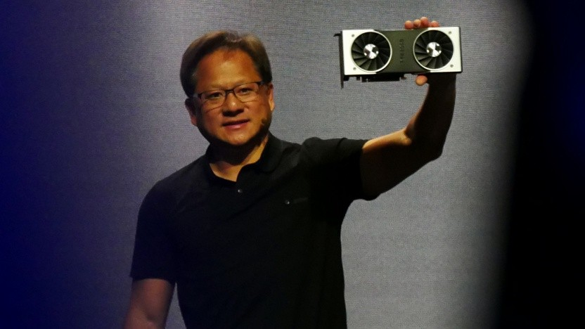 Nvidia-CEO Jensen Huang zeigt die Geforce RTX 2080 Ti.