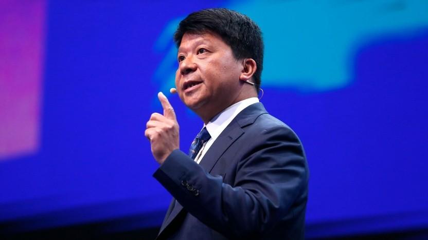 Guo Ping, Rotating Chairman von Huawei Technologies, spricht auf dem MWC in Barcelona.