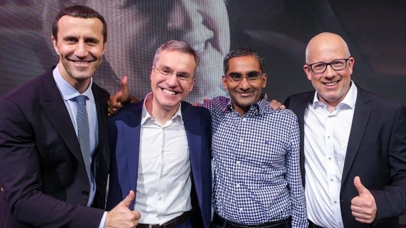 Von links: Filippo Rizzante (Reply), Robert Soukup (Deutsche Telekom) sowie Ram Velaga von Broadcom und Hannes Gredler (RtBrick)