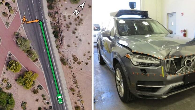 Der Unfallort (links) und das Unfallauto