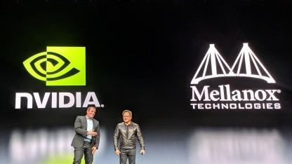 Nvidia-CEO Jensen Huang und Mellanox-CEO Eyal Waldman auf der GTC 2019