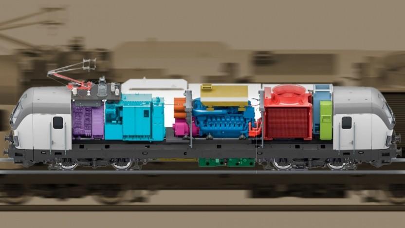 Der interne Aufbau der Vectron Dual Mode: In der Mitte ist die Diesel- samt Kühleinheit zu sehen (Dunkelblau, Dunkelrot).