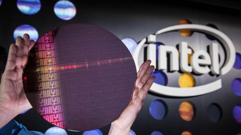 Ein Intel-Wafer mit 14-nm-Chips