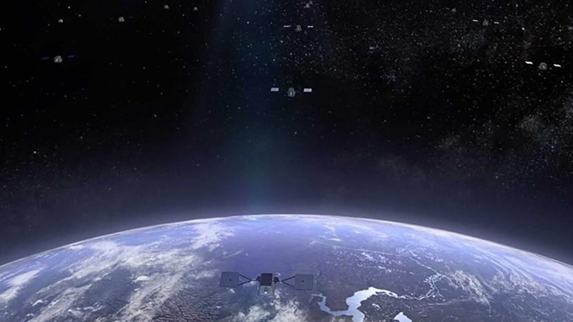 Künstlerische Darstellung der Satellitenkonstellation von Oneweb