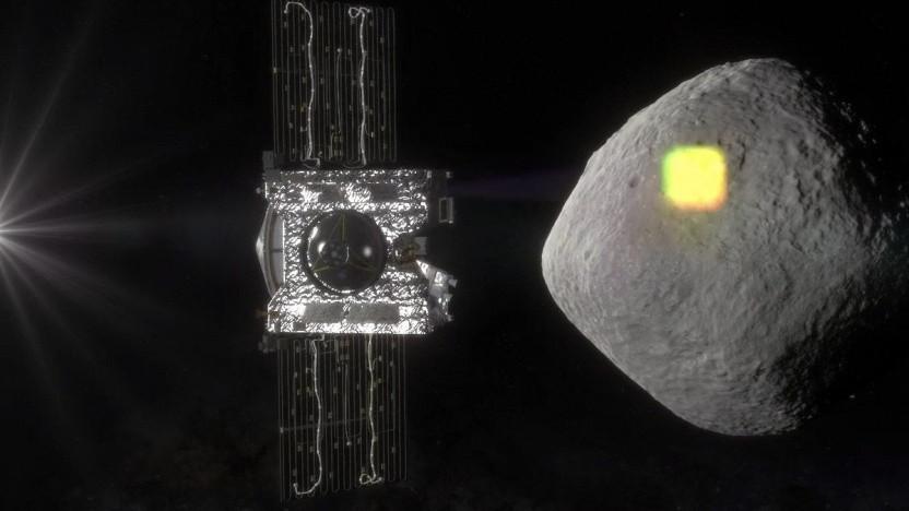 Sonde Osiris Rex vor dem Asteroiden Bennu (Montage): viel mehr große Brocken als erwartet