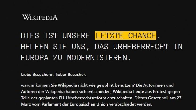 Die deutschsprachige Wikipedia warnt vor der EU-Urheberrechtsreform.