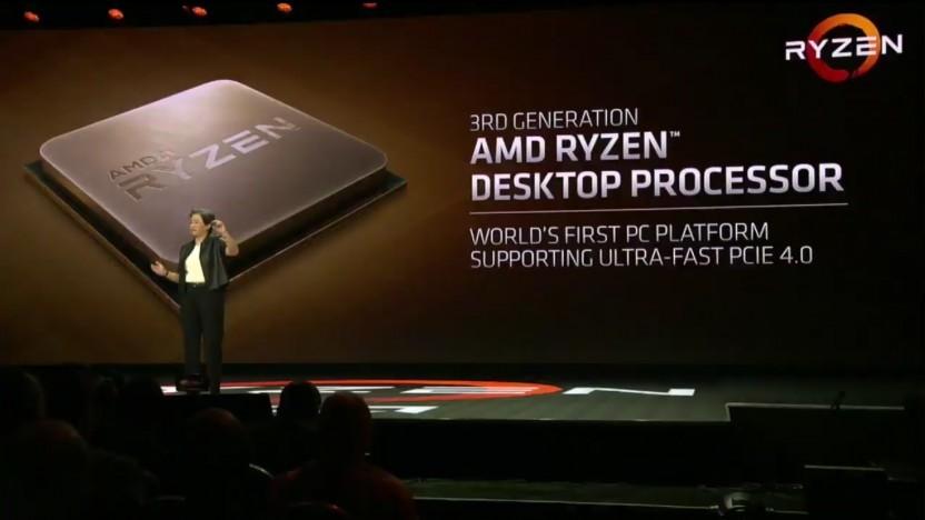 AMD-Chefin Lisa Su stellt die Ryzen 3000 vor.
