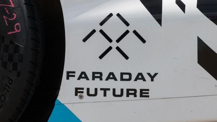 Logo von Faraday Future am ehemaligen Formel-E-Boliden: Firmensitz in Los Angeles verkauft