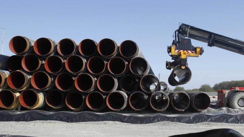 Röhren für die Gaspipeline Nord Stream durch die Ostsee