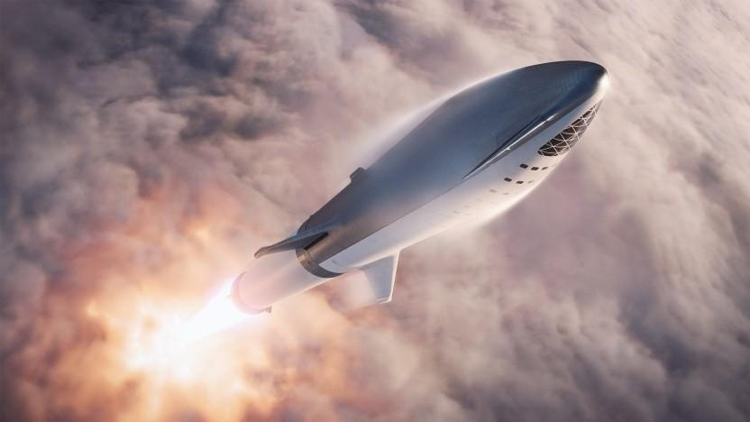Künstlerische Darstellung des Starship: Der erste Flug zum Mond ist schon gebucht.