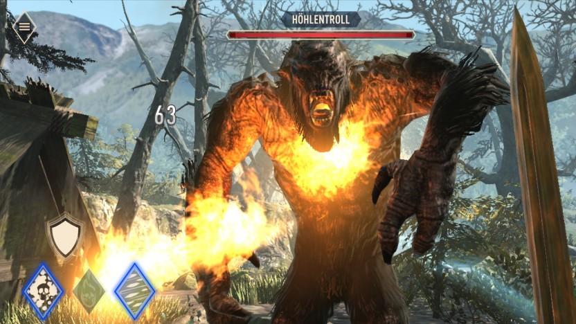 Wir kämpfen in The Elder Scrolls Blades gegen einen Troll.