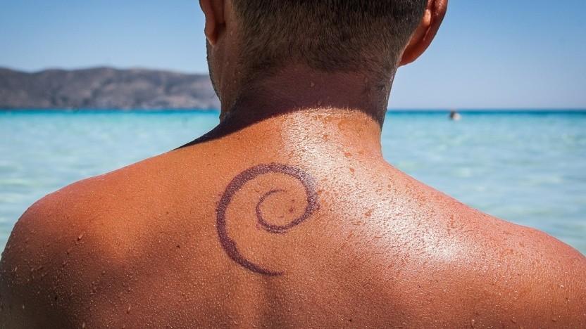 Debian wählt einen neuen Project Leader, Logo der Distribution ist der sogenannte Debian-Wirbel.