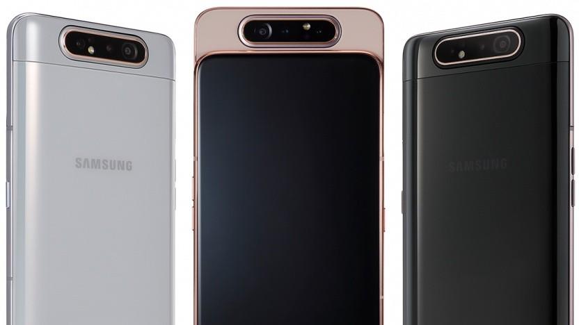Das Galaxy A80 mit seiner rotierenden Dreifachkamera