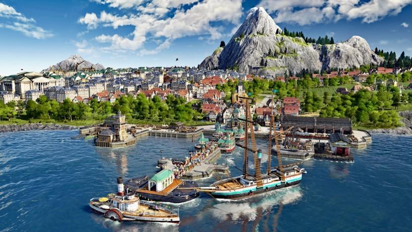 Hafenanlage mit Touristendampfer in Anno 1800