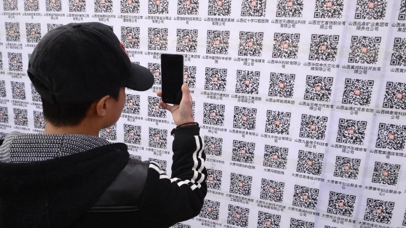 Einscannbare Codes spielen für die chinesische App Wechat eine zentrale Rolle. Sie ersetzen unter anderem Visitenkarten und Bargeld.