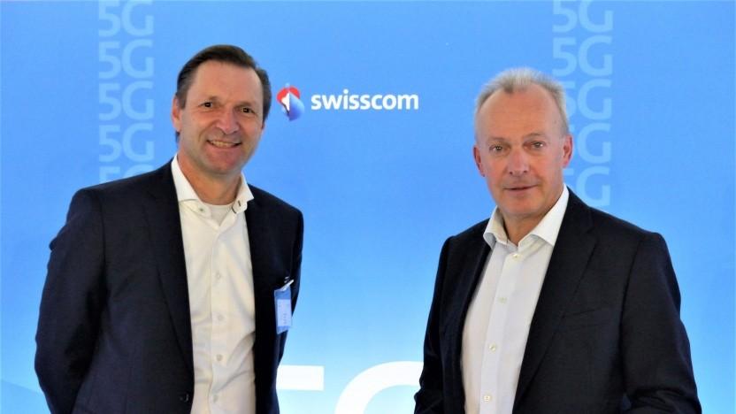Ericssons Westeuropa- und Deutschlandchef Stefan Koetz (links) und Swisscom Chef Urs Schaeppi beim 5G-Event