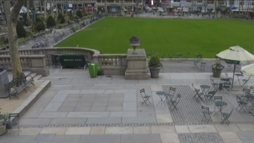 Ein Screenshot der Bryant-Park-Webcam - aus Datenschutzgründen ohne Personen