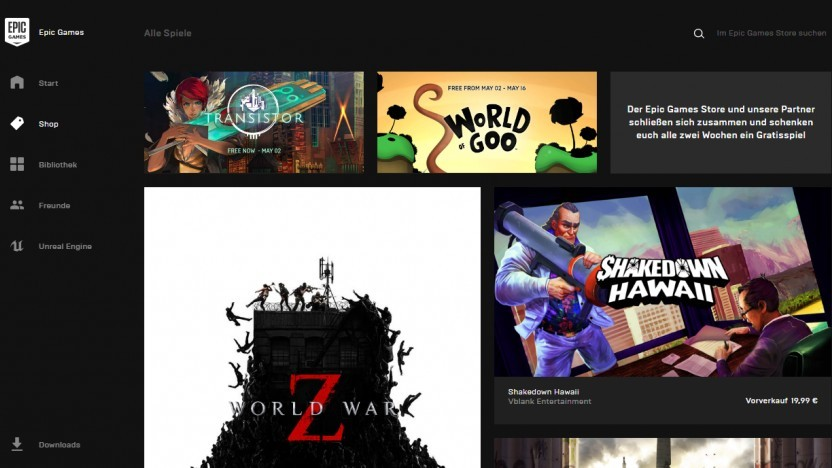 Launcher des Epic Games Store