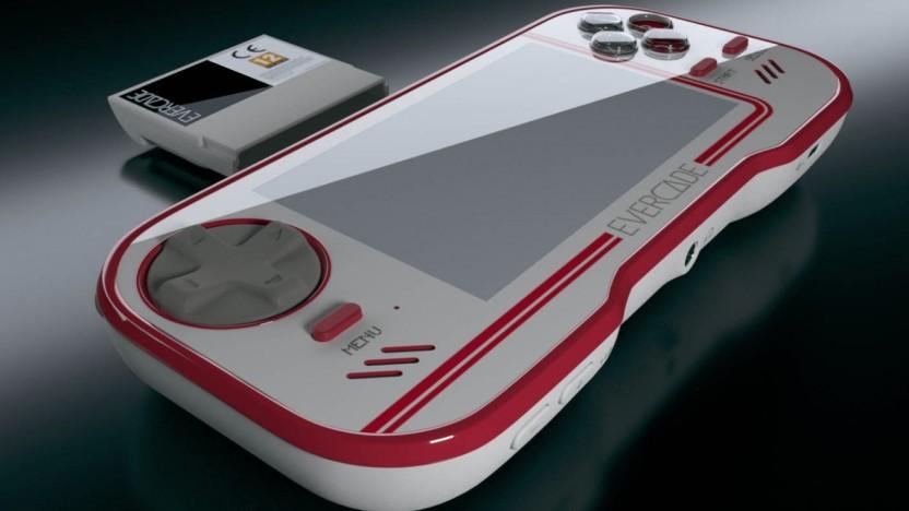 Die Evercade ist eine handliche Konsole für Spielekassetten.
