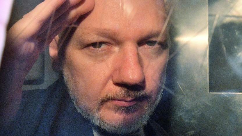 Julian Assange am 1. Mai 2019 auf dem Weg zum Gericht: eine Frage von Leben und Tod