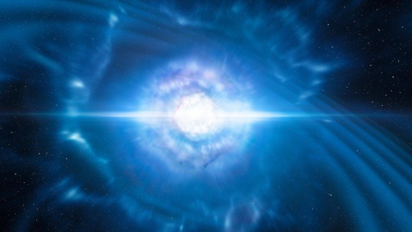 Künstlerische Darstellung einer Kollisionen von zwei Neutronensternen: Gravitationswellen von 16 Ereignissen erfasst