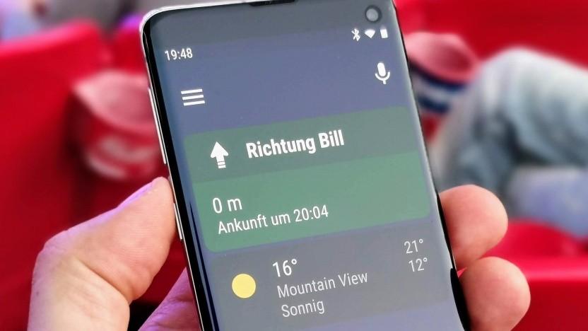 Android Auto auf einem Samsung Galaxy S10.