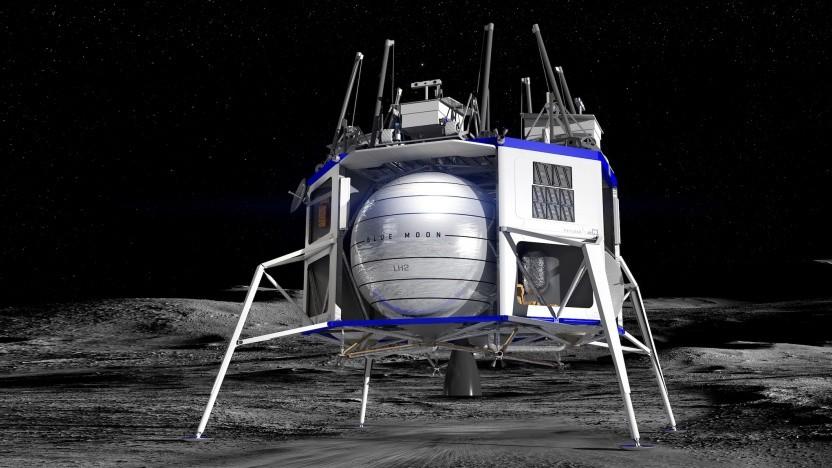 Die großen, kugelförmigen Wasserstofftanks sind das auffälligste Merkmal des Blue Moon Landers.