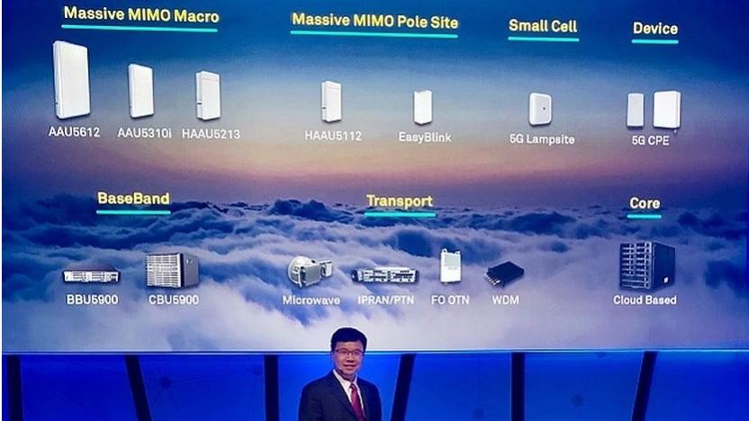 Huawei zeigt seine 5G-Produkte.