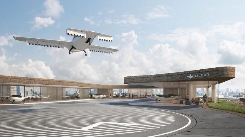Konzept für eine Landeplattform des Lilium Jet: regulärer Einsatz ab Mitte der 2020er Jahre