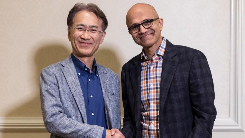 Sony-Chef Kenichiro Yoshida und Microsoft-Boss Satya Nadella verabreden eine Zusammenarbeit.