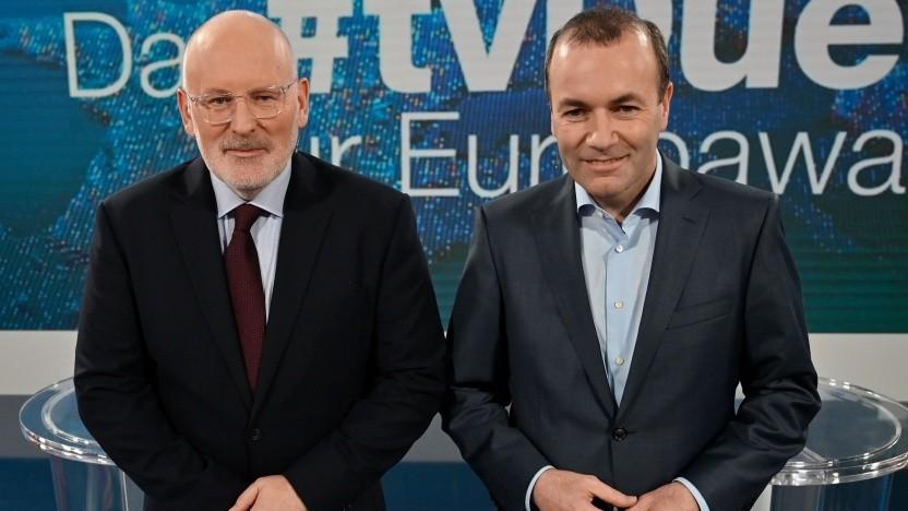Frans Timmermans und Manfred Weber am 16. Mai 2019 bei der Diskussionsendung des ZDF