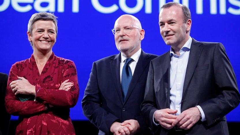 Eine/r wird gewinnen: Margrethe Vestager, Frans Timmermans, Manfred Weber (v.l.n.r.)