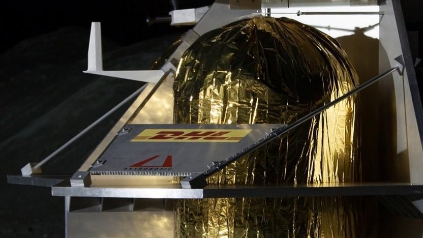Der Mondlander von Astrobotic mit DHL-Aufkleber