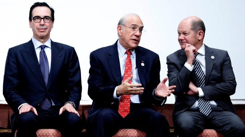 US-Finanzminister Steven Mnuchin, OECD-Generalsekretär José Ángel Gurría Trevino und Bundesfinanzminister Olaf Scholz (v.l.n.r.)