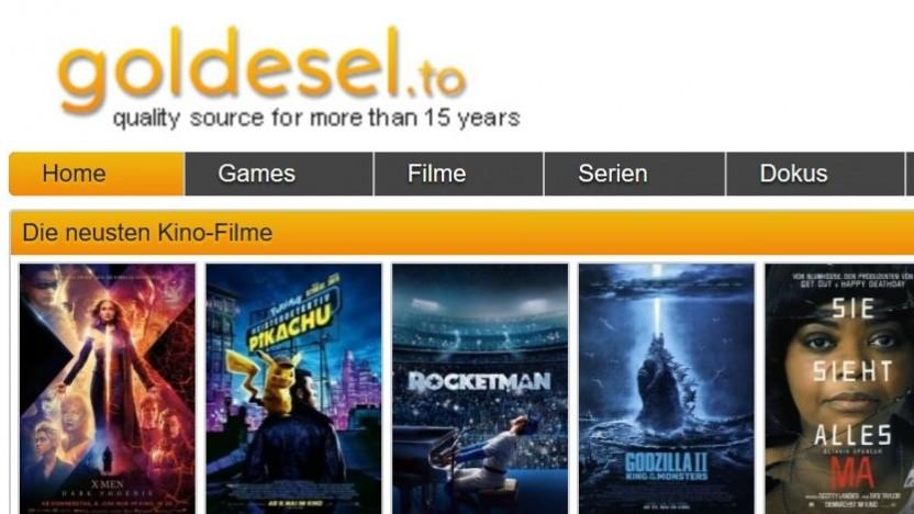 Inhalte noch nicht im legalen Streaming: Das Angebot von Goldesel.to ist offenbar illegal.