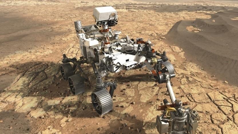 Künstlerische Darstellung des Rovers Mars 2020: Schräglage von 45 Grad