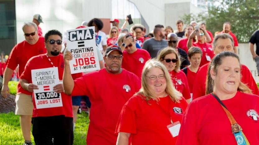 Gewerkschaftler gegen die Telekom-Übernahme in den USA