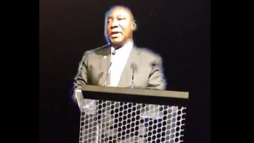 Cyril Ramaphosa als Hologramm