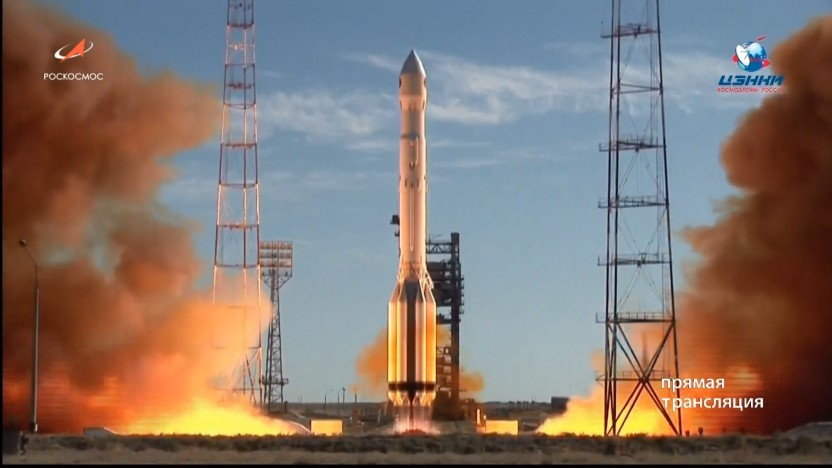 Bei klarem Himmel hob die Proton-Rakete mit Spektr-RG in Baikonour ab.